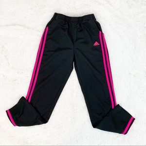 Adidas girl's 3 stripes pants black and pink